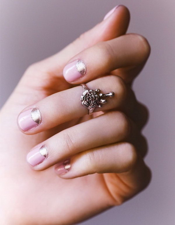 Pink and Silver Half Moon Nails.
