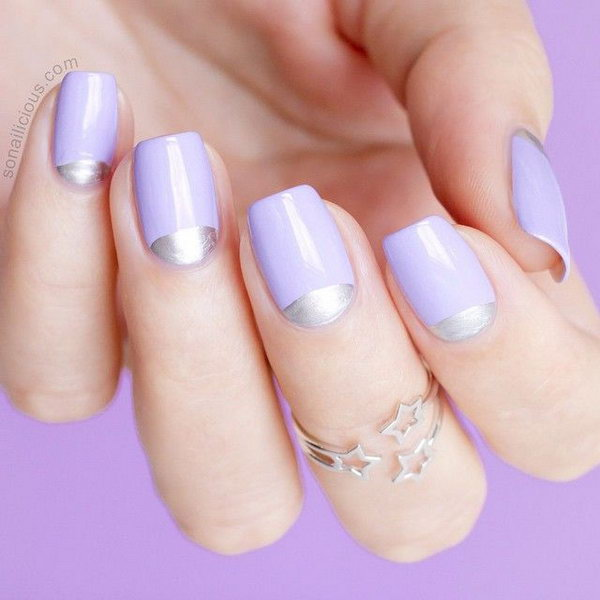 Purple and Silver Half Moon Manicure.