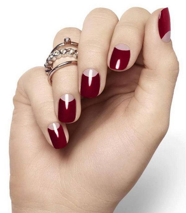Bloody Red Half Moon Nail Designs.
