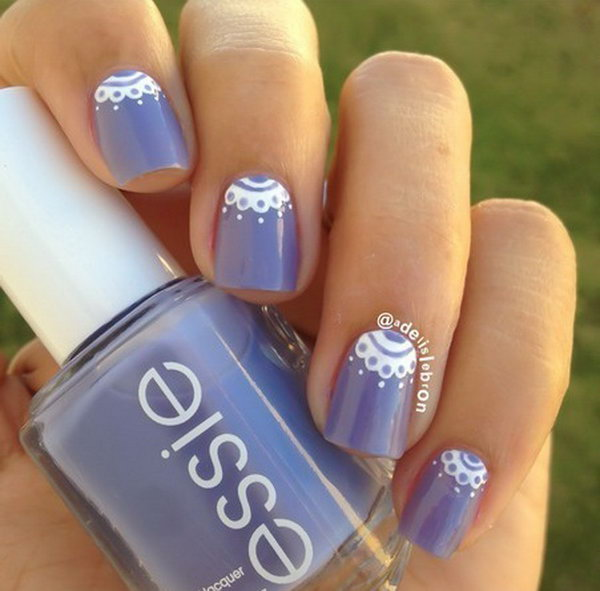 Lace Half Moon Nails.