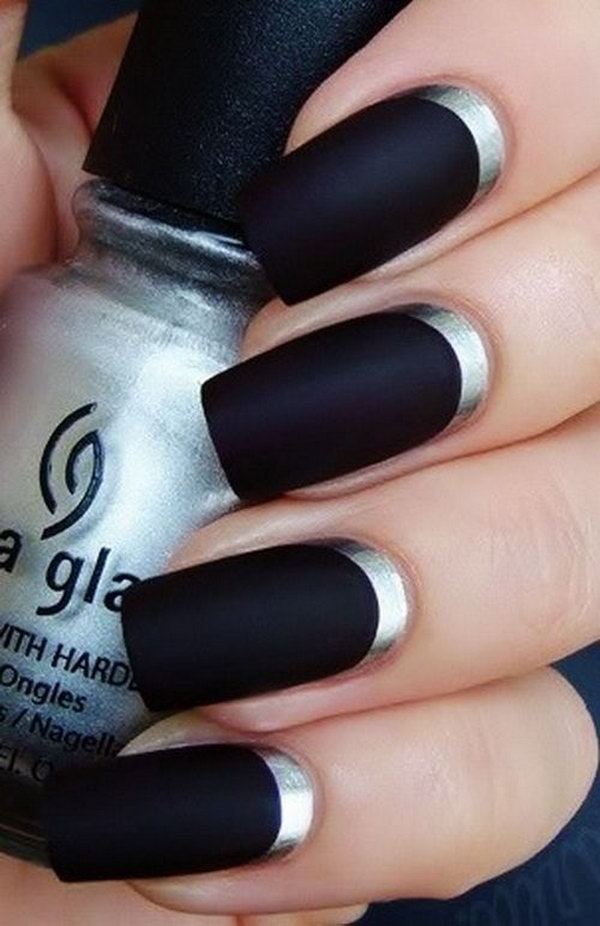 Black and Silver Half Moon Nails.