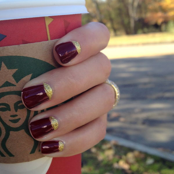 Red and Gold Glitter Half Moon Nails.
