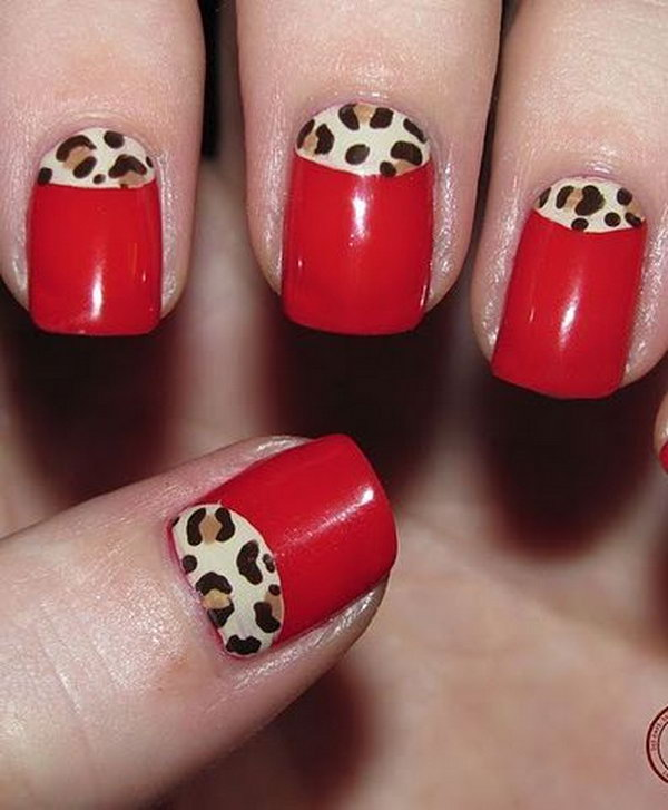 Red Half Moon Manicure with Leopard Print.