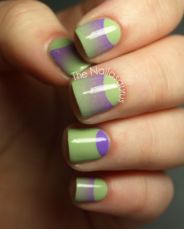 Green and Purple Combination Half Moon Nails.