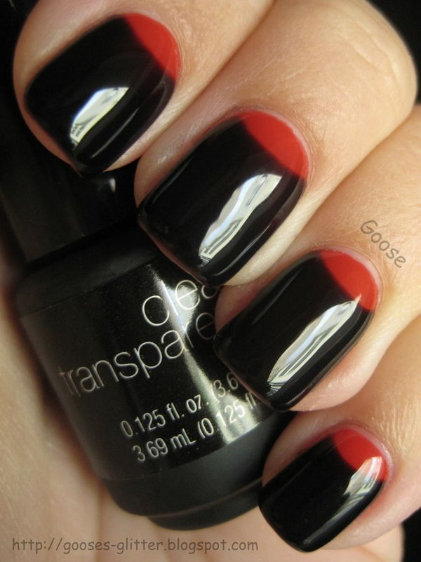 Black Nails with Red Half Moons.