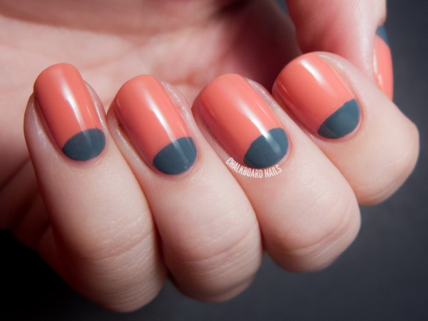 Sweet and Stormy Half Moon Nails. Get the tutorial