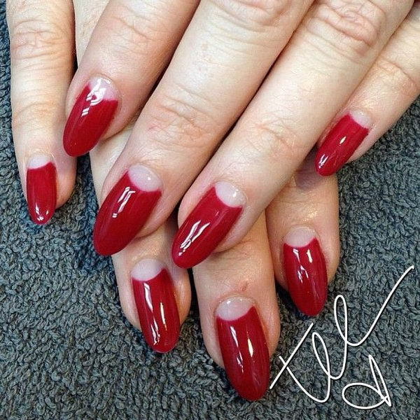Red and Nude Half Moon Nails.