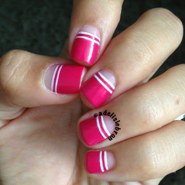 Pink and White Stripped Half Nail Design.