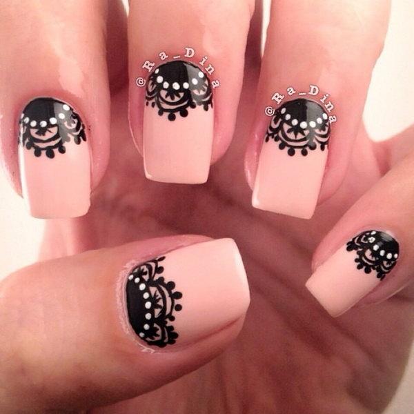 Lace and Dots Half Moon Nails.
