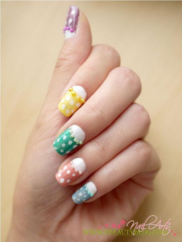 Colorful Polka Dots and Pearl Half Moon Nail Design.
