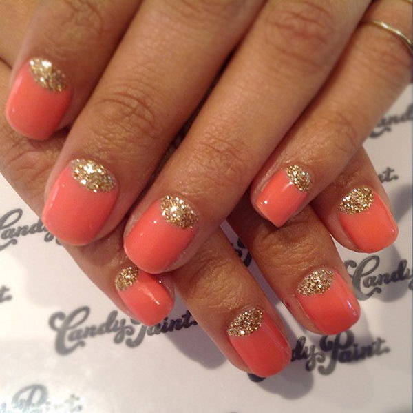Orange and Gold Glitter Half Moon Nail Design.