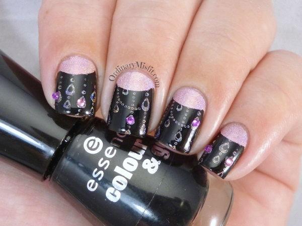 Pink and Black Half Moon Nails. Get more details