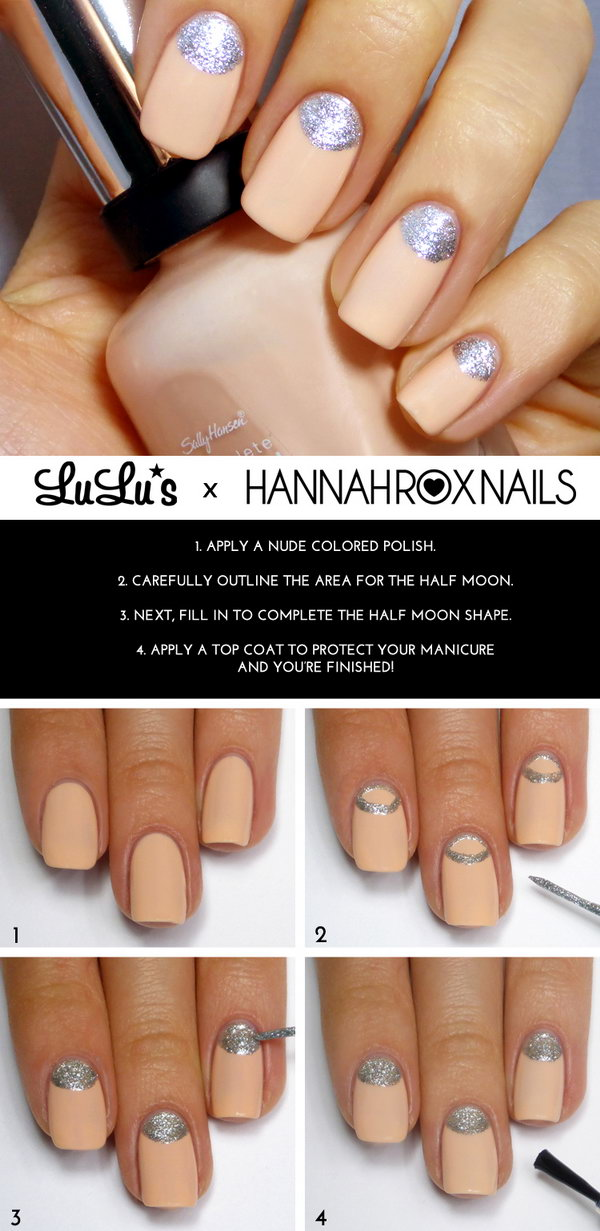 Nude and Silver Half Moon Mani Tutorial.