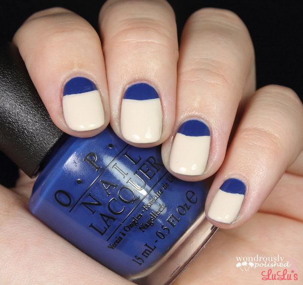 Blue Half Moon Nail Tutorial. See the steps