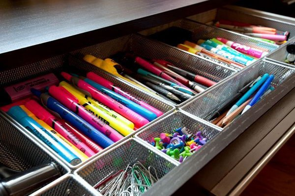 Home Office Drawer Organizers. Keep all of your office supplies, like markers, pins, clips organized in this drawers.