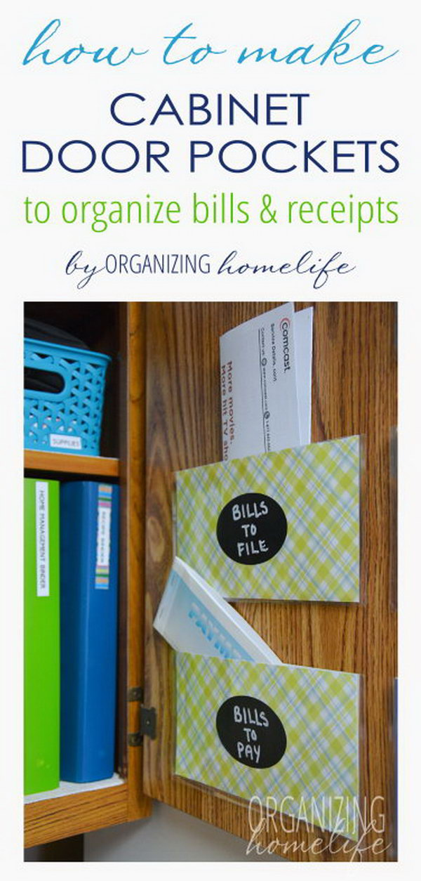 Organize Bills and Paperwork with DIY Cabinet Pockets. See how to make it