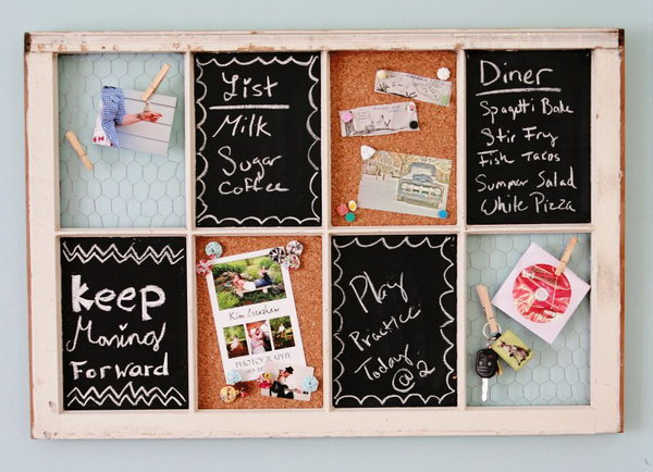 Re Purpose An Old Window. Give the old window a new life as a storage space for the home office. Use the chalkboard as the work remainders.