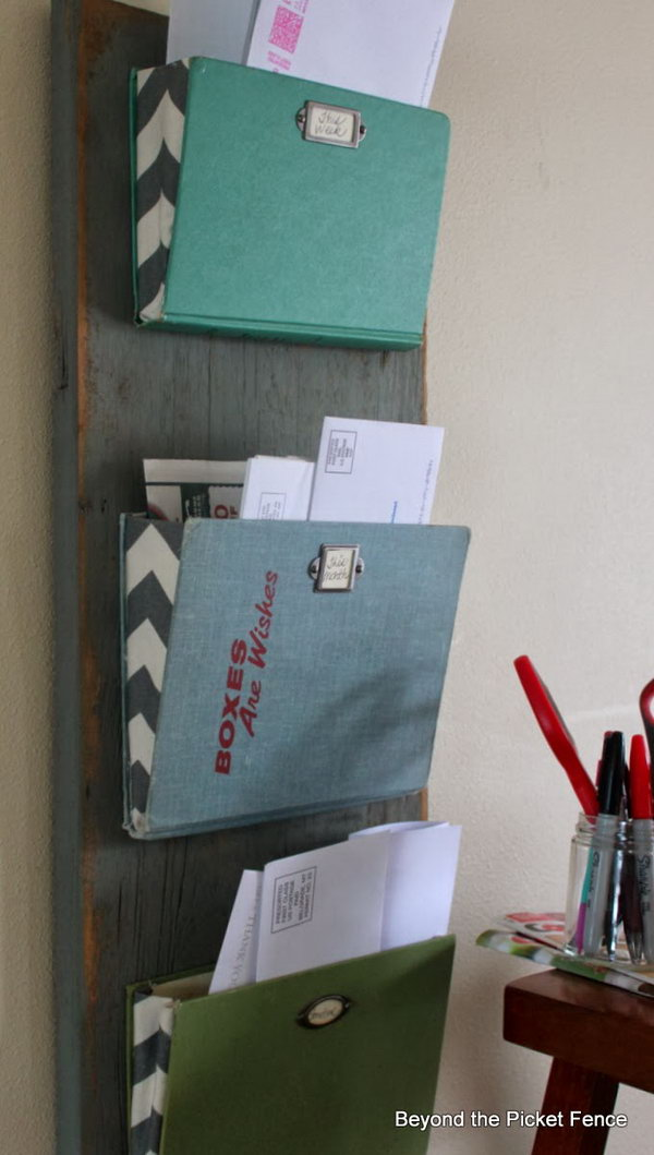 Old Book Based Mail Organizer. Instead of letting your mail pile up on your desk, you can repurpose this mere old book cover as the mail organizer.