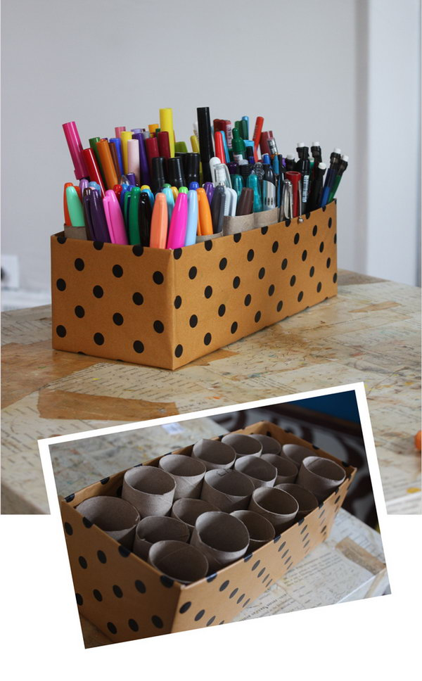 Creative Pens Organization Ideas. Just take old toilet paper tubs, line them in a pretty little box. An easy way to organize all those loose pens in the home office.