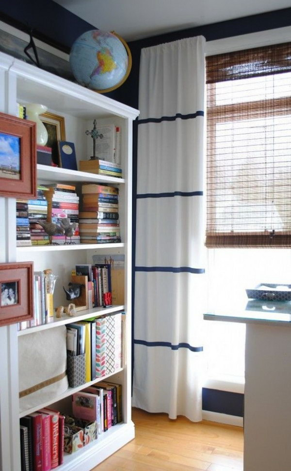 Adding Sleek Stripes to White IKEA Curtains. Get the directions