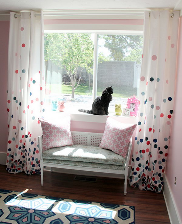 colorful Polka Dots Curtain. Get the tutorial