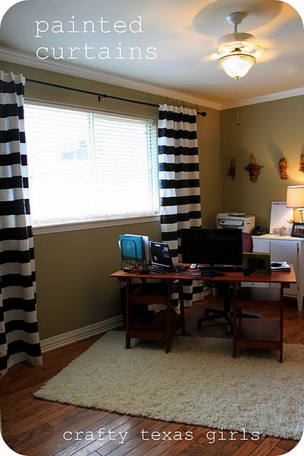 Ikea Hacks Tutorials Ideas For Your Window Treatments: bold black and white striped curtains