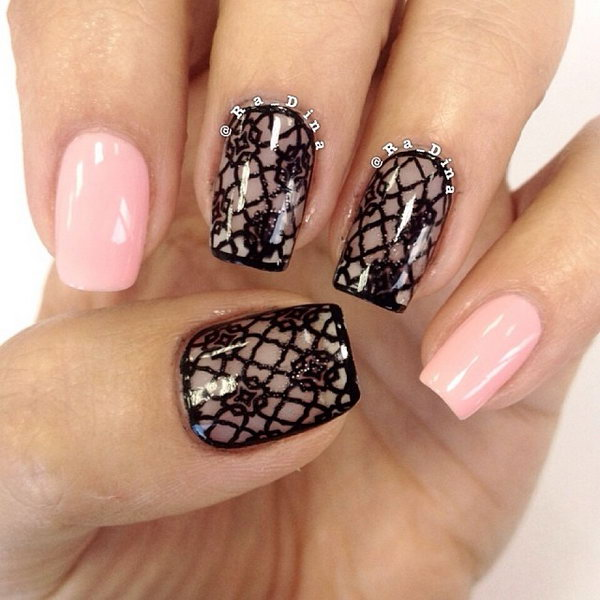 Classic Black Lace Nails.