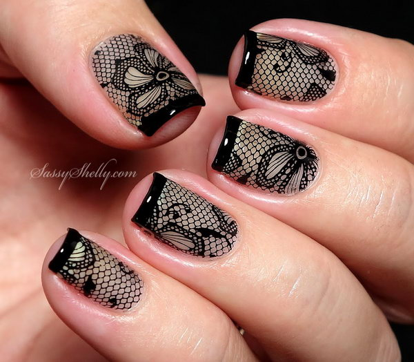 Black Lace Nail Design. Get the tutorial