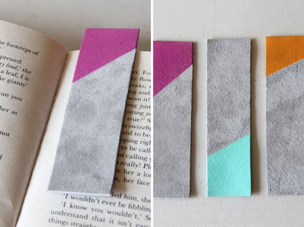 Leather Color Blocked Bookmarks. See the steps