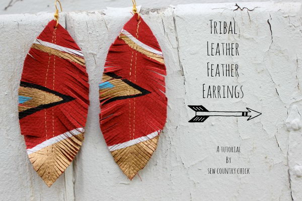 DIY Leather Feather Earrings. Get the tutorial