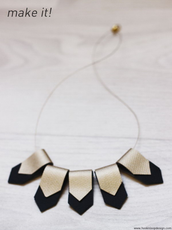 DIY Leather Geometric Necklace. See how