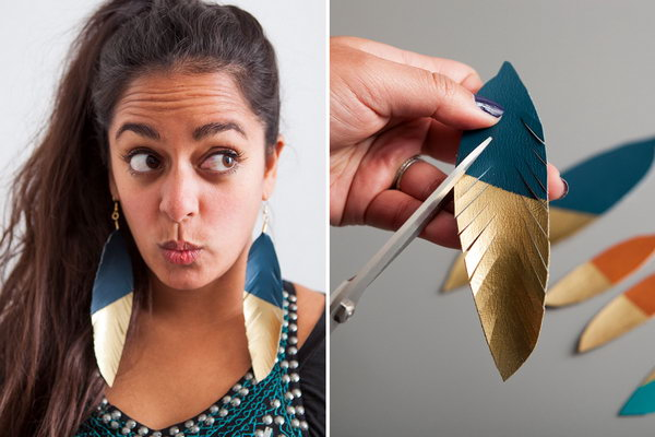 Gold Dipped Leather Feather Earrings. Get the tutorial