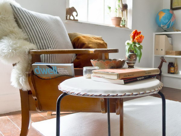 DIY Leather Stool Cover. See the tutorial