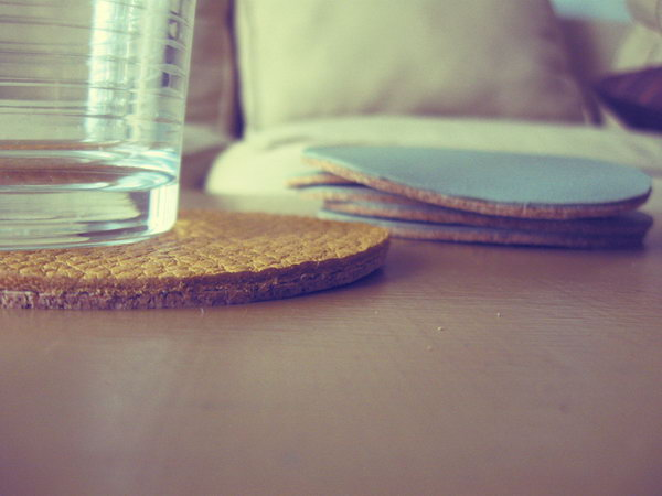 DIY Leather and Cork Coasters. Get the tutorial