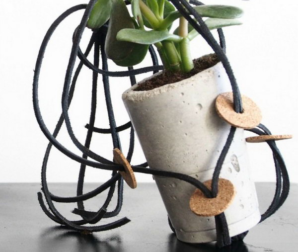 DIY Hanging Planters with Leather. See more details