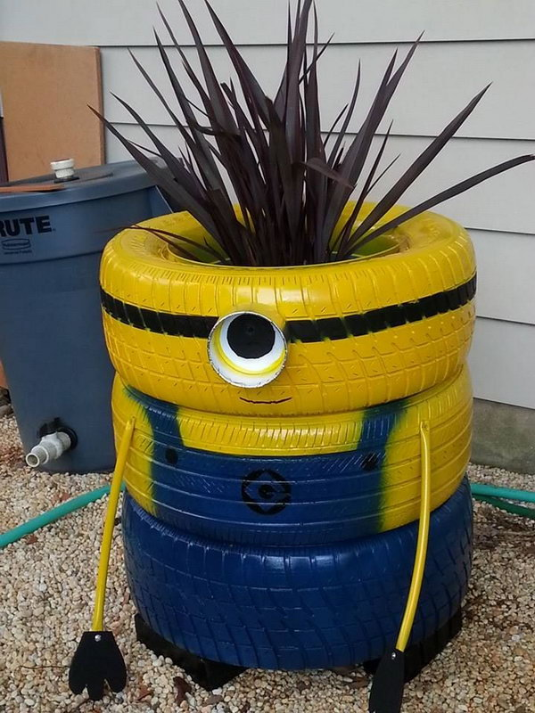 Minion Painted Planter Made with Old Tires.
