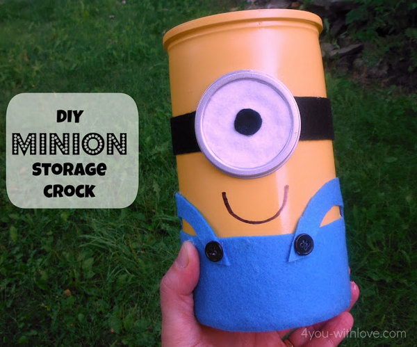 DIY Minion Storage Crock. Get the tutorial