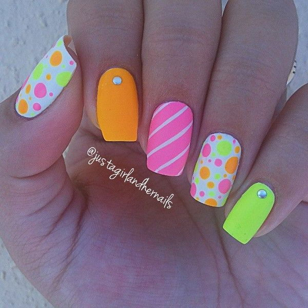 Polka Dots Neon Nails.