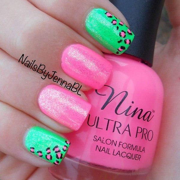 Neon Cheetah Print Nails.
