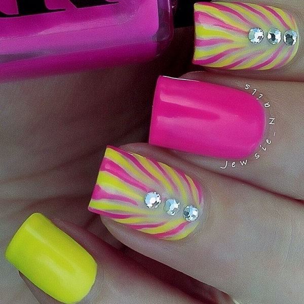 Pretty Neon Nail with Gems.