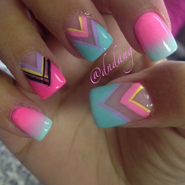 Chevron Patterned Neon Nail Designs.