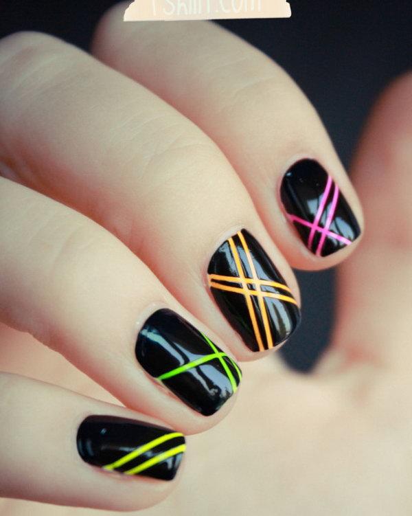 Neon Strip Nails on Black Base.
