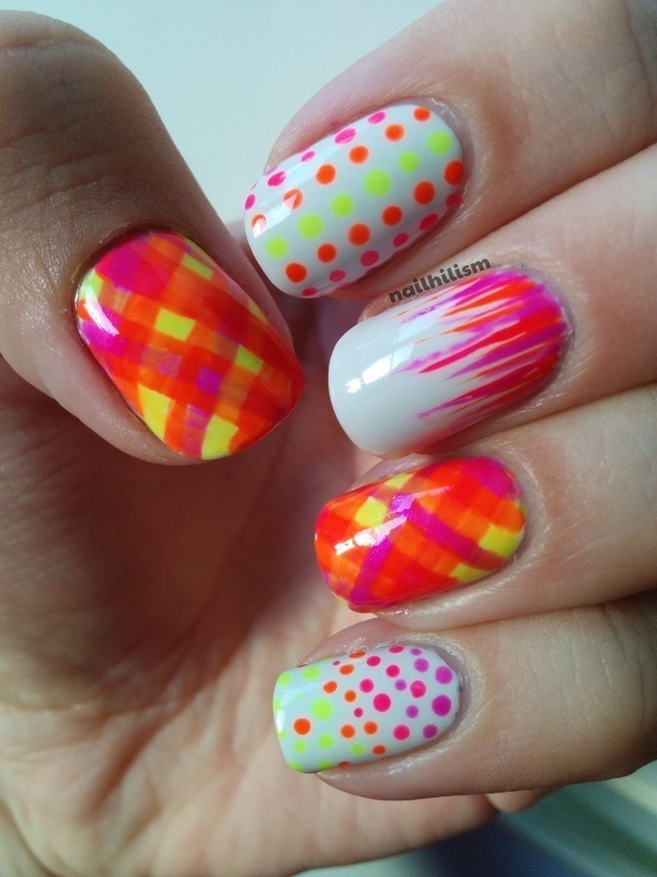 Dots and Tartan Neon Nails.