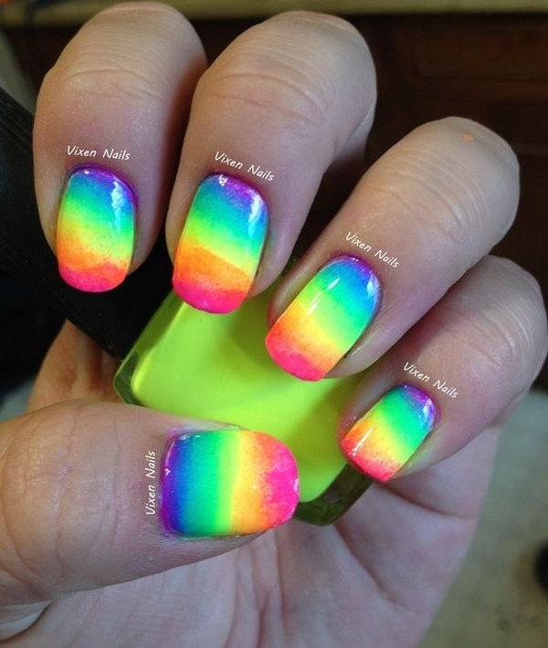 Neon Rainbow Nails.