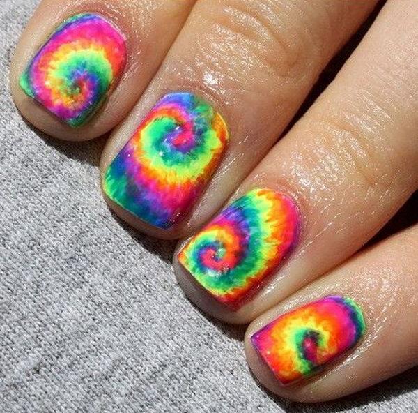 Neon Rainbow Tie Dye Nail Art.
