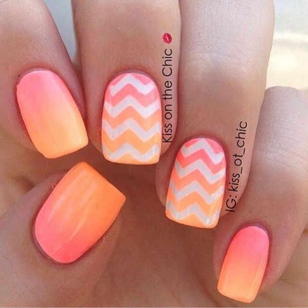 Sunset and Chevron Patterned Neon Nails.