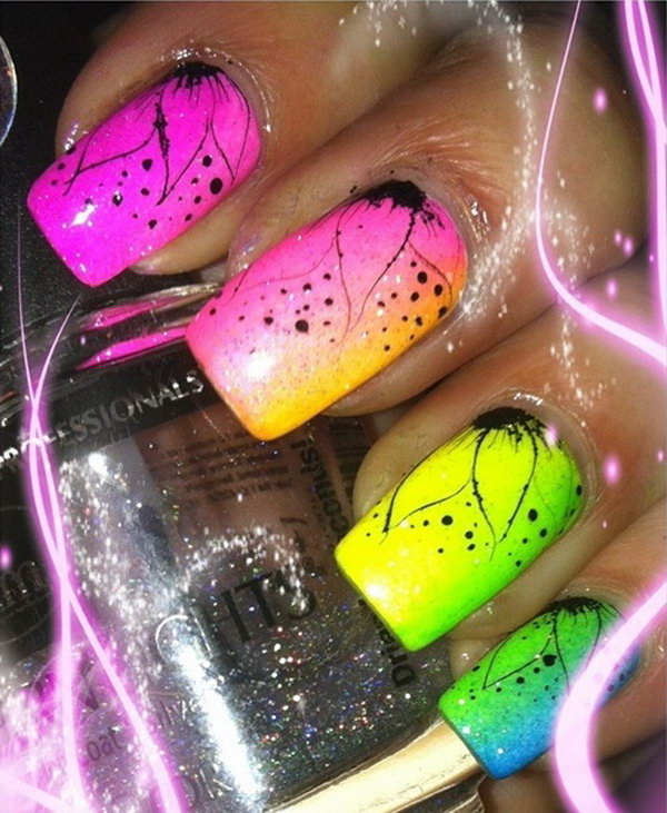 Neon Ombre Nails with Hand Draw Flowers.