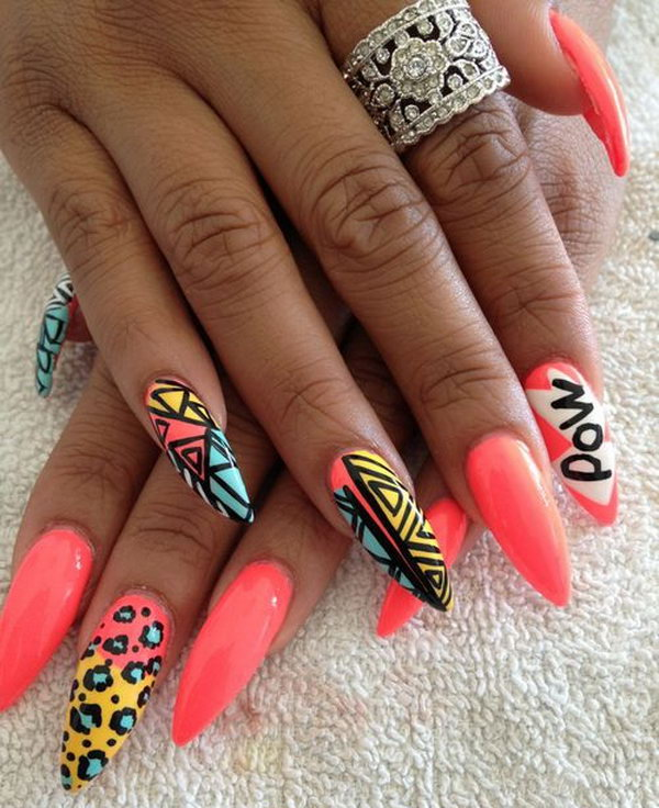 Long Sharp and Tribal Neon Nails.