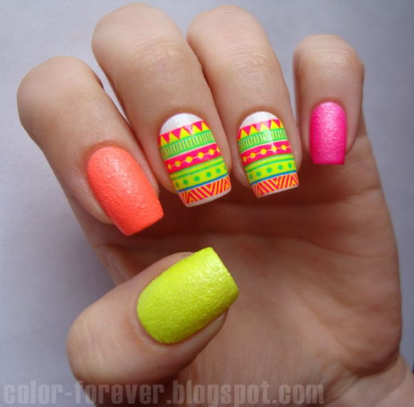 Patterned Neon Nails.