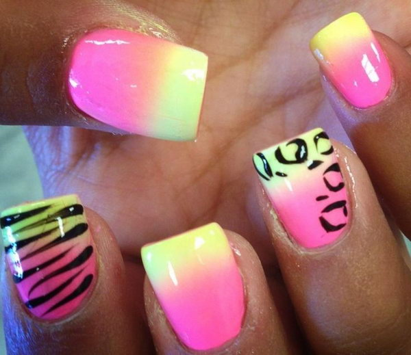 Ombre Animal Print Nails.